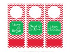 Printable Customizable Holiday Wine Bottle Tags