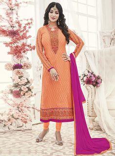 Ayesha Takia Orange Georgette Kameez With Churidar 121004 Bollywood Dress, Bollywood Fashion, Pakistani Suits, Anarkali Suits, Wedding Silk Saree, Silk Sarees Online, Salwar Kameez, Churidar, Lehenga Choli