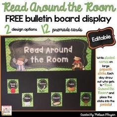 """FREE - Do you let students """"Read Around the Room"""" during daily independent reading time? This bulletin board display idea was passed on to me from a colleague and it's a lifesaver during Reading Workshop so I want to share it with you too! Simply print, laminate, cut and display the bulletin board set. Write student names on large popsicle sticks and pull sticks each day to select a handful of students who get to """"Read Around the Room."""" #wildaboutfifthgrade"""