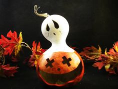 Halloween Gourd  Spooky Pumpkin Candy Dish  and Ghost Lid Trick Or Treat Decoration.