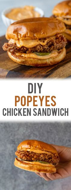 Gimme Delicious You are in the right place about Sandwiches emparedados Here we offer you the most beautiful pictures about the Sandwiches baguette you are looking for. When you examine the DIY Popeyes Chicken Sandwich Gourmet Sandwiches, Best Sandwich Recipes, Spicy Chicken Sandwiches, Chicken Sandwich Recipes, Wrap Sandwiches, Dinner Sandwiches, Fried Chicken Burger, Buttermilk Fried Chicken Sandwich Recipe, Popeyes Fried Chicken