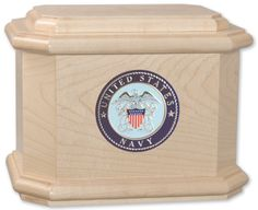Urns Northwest  - Patriot Cremation Urn, $299.00 (http://urnsnw.com/patriot-cremation-urn/) Lovely white maple wood. Made in the USA. Choice of Army, Air Force, Navy, Marine Corps or Fire Department medallion.