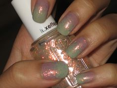 Green and pink gradient/nails with Shine of the times