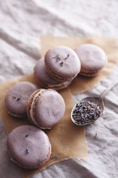 [ Recipe: Lavender Macarons with Honey Buttercream ] Made with: confectioners sugar, dried lavender buds, almond meal, egg whites, and sugar. ~ from The Tart Tart