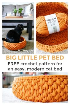 The Big Little Pet Bed, a Round Cat Bed made with Jumbo Yarn - TL Yarn Crafts - Make the Big Little Pet Bed, a FREE crochet pattern made in partnership with Yarnspirations. Big Little, Little Pets, Crochet Gratis, Free Crochet, Yarn Projects, Crochet Projects, Big Yarn, Crochet Home, Crochet Cat Beds