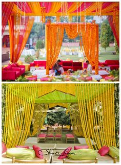 Love love this traditional marigold mandap decor. Inexpensive Wedding Centerpieces, Wedding Decorations On A Budget, Simple Centerpieces, Wedding Ideas, Farm Wedding, Dream Wedding, Marigold Wedding, Mandap Design, Low Budget Wedding