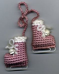 Free crochet pattern Ice Skates Ornament on AllCraftsBlog - Could be a cute, quick gift!