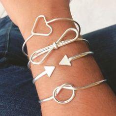 Bracelete duas setas folheado em prata - PL55C3304