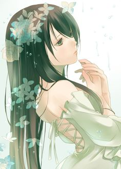 ✮ ANIME ART ✮ anime. . .pretty girl. . .long hair. . .open back dress. . .ribbons. . .flowers. . .cute. . .kawaii