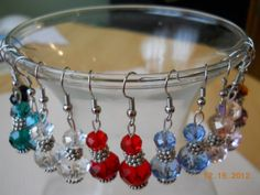 """1"""" Silver and Crystal Bead Dangle Earrings  by maryannsway on etsy"""