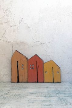 Wooden houses set houses miniature houses home decor gift Clay Houses, Wooden Houses, Ceramic Houses, Miniature Houses, Art Houses, Mini Houses, Recycled House, Recycled Wood, Hall Mirrors