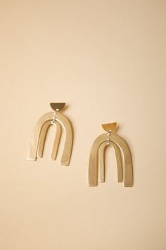 These statement earrings are a unique Seaworthy design of 3 separate solid brass cast pieces connected with two silver handmade headpins and hand soldered st...