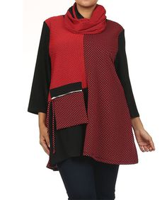 Love this Red & Black Contrast Swing Tunic & Infinity Scarf - Plus by Curvesque on #zulily! #zulilyfinds