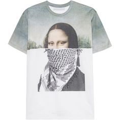 NEIL BARRETT Mona Lisa Green White // Cotton t-shirt with print ($165) ❤ liked on Polyvore featuring men's fashion, men's clothing, men's shirts, men's t-shirts, tops, tees, shirts, t-shirts, mens cotton shirts and mens patterned shirts