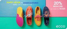 FRIDAY HAPPY HOURS pe www.ecco-shoes.ro, astazi de la 14.00 la 17.00! 20% REDUCERE la colectia NOUA, incaltaminte si genti!