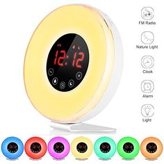 LBell Alarm Clock 2017 Deluxe Edition Wake Up Light Digital Alarm Clock with 7 Sounds Sunrise & Sunset Simulation 7 Colors Night Light with Snooze Function FM Radio Touch Control and USB Charger