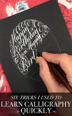 """Like most skills, calligraphy isn't something that you'll pick up overnight. Still: you can learn calligraphy in an efficient and enjoyable way! In this article, you'll find six """"tricks"""" that I used to accelerate my own calligraphy learning process. How To Do Calligraphy, Calligraphy Worksheet, Calligraphy Tutorial, Hand Lettering Tutorial, Calligraphy Handwriting, Calligraphy Alphabet, Modern Calligraphy, Penmanship, Calligraphy Lessons"""