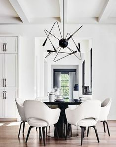 Black and White Dining Room Decor Inspirations Dining Table Chairs, Dining Room Furniture, Dining Rooms, Desk Chairs, Lounge Chairs, Office Furniture, Dining Area, Black And White Dining Room, Black White