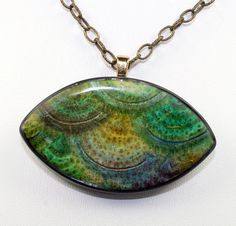 Necklace with Polymer clay pendant rocky path by rivervalleydesign, $16.00