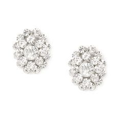 Oval Crystal Cluster Stud Earrings