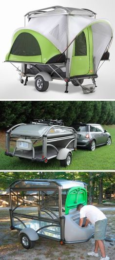 Sylvan Sport GO trailer with pop-up camper. The remarkable thing about this is how it is really a trailer rather than a tent; you can carry bikes and sporting goods in it. But where is the tent? Camping Glamping, Camping Life, Camping Hacks, Outdoor Camping, Cool Campers, Rv Campers, Camper Trailers, Travel Trailers, Trailer Tent