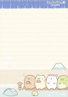 "San-X Sumikko Gurashi ""Onsen"" Memo Kawaii Wallpaper, Wallpaper Iphone Cute, Cute Wallpapers, Kawaii Stationery, Stationery Paper, Memo Template, Memo Notepad, Pen Pal Letters, Commonplace Book"