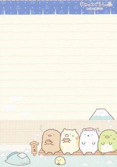"San-X Sumikko Gurashi ""Onsen"" Memo Kawaii Wallpaper, Wallpaper Iphone Cute, Cute Wallpapers, Kawaii Stationery, Stationery Paper, Memo Template, Memo Notepad, Pen Pal Letters, Commonplace Book"