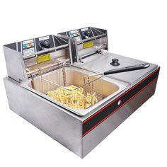 Yescom Stainless Steel Electric Countertop Deep Fryer Dual Tank Basket for Commercial Restaurant Commercial Deep Fryer, Commercial Electric, Commercial Kitchen, French Fries Fryer, Home Depot, Electric Deep Fryer, Shrimp Rolls, Stainless Steel Countertops, Cooking Equipment