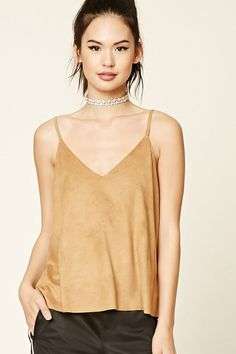 Style Deals - A faux suede top featuring a V-neckline and V-back, thin cami straps, a boxy silhouette, and a raw-cut hem.