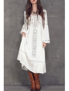 Scoop Neck Embroidered Midi Dress