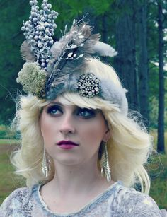 Silver, Lambswool, feather, tribal, QUEEN,Once Upon A Time,headpiece,hat,,headdress,headband,twigs, crown, tiara, QUEEN on Etsy, $55.00