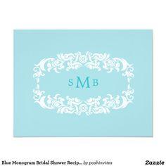 Blue Monogram Bridal Shower Recipe Card