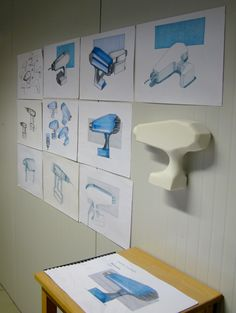 Izabella Chmielnik (School of Form) drill sketches and a foam model