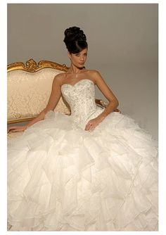 Strapless Sweetheart Neckline Empire Bodice with Ball Gown Layered