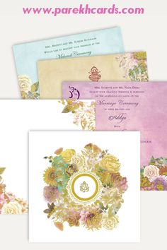 This hardbound card is made out of textured ivory (cream) paper board with matching mailing box envelope. The card front has beautiful floral theme outlined with golden border. Card front has Gold plated Ganesh paste-up in center. Card has 3 different color inserts printed with coordinated floral design gives amazing look.