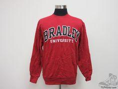 Jansport Bradley Braves Crewneck Sweatshirt sz M Medium University SEWN NCAA #Jansport #BradleyBraves #tcpkickz