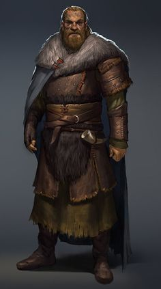 Male fighter medium human beard fur leather barbarian skald horn