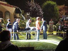 cool Dexter season 5 night shoot in Long Beach, CA - Harry escorts the gurney