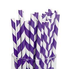 Purple Striped Paper Straws - OrientalTrading.com $4.00 for 24