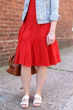 Poor Little It Girl - Red Dress and Denim Jacket - @poorlilitgirl