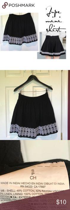Jupe black mini skirt w/ white stitched hem line NWT Skirts Mini