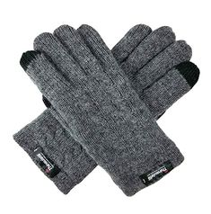 Ladie's Pure Wool Knit Gloves with Thinsulate Lining and Cable design - Grey Touchscreen - - Women's Accessories, Gloves & Mittens, Cold Weather Gloves # # Knit Mittens, Knitted Gloves, Pineapple Embroidery, Leather Driving Gloves, Cold Weather Gloves, Crochet Winter, Dress Gloves, Classic Style Women, Winter Warmers