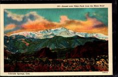Colorado Springs Sunset over Pikes Peak from Mesa Road Vintage Linen Postcard