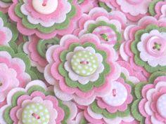 WATERMELON - Set of 3 Handmade Felt Flower Embellishments in Pink, Light Pink and Green / Felt Applique / Felt Embellishment