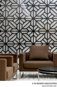 mimic the pattern on the patio for the dining room wall - in dark indigo Interior Walls, Interior Design, Metal Room Divider, Room Dividers, Grill Design, Design Design, Decorative Screens, Metal Panels, Wall Finishes
