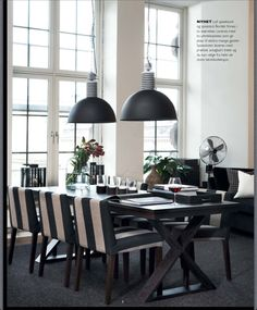 As I mentioned a few days back am in Stockholm and got my Slettvoll craving sorted for a while at least. Always ask the store manager what . Kitchen Dinning, Dining Area, Dining Rooms, Striped Dining Chairs, Cool Chandeliers, House Rooms, Interior Design Inspiration, Interior Decorating, Sweet Home