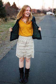 Polka Dot Skirt + Mustard Tee + Denim Jacket