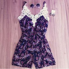 $22.50 | White lace collar purple printed Jumpsuits 1203891