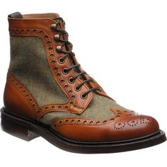Men brown boots green tweed chestnut calf leather high ankle boots brogue toe laceup