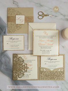 Elegant champagne gold pocket wedding invitations Ideas